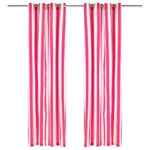 kardinad metallrõngastega 2 tk kangas 140 x 245 cm roosa triip