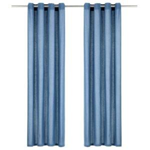 kardinad metallrõngastega 2 tk puuvill 140 x 175 cm sinine