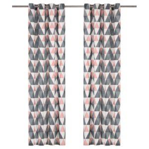 kardinad metallrõngastega 2 tk puuvill 140 x 245 cm hall