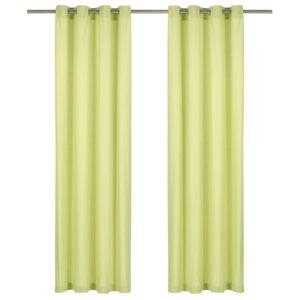 kardinad metallrõngastega 2 tk puuvill 140 x 245 cm roheline