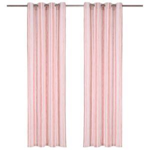 kardinad metallrõngastega 2 tk puuvill 140 x 245 cm roosa triip