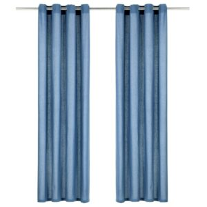 kardinad metallrõngastega 2 tk puuvill 140 x 245 cm sinine