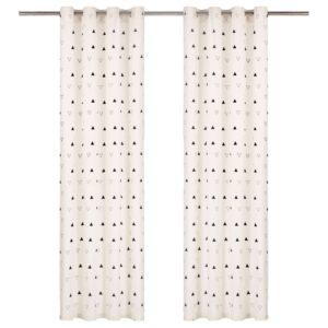 kardinad metallrõngastega 2 tk puuvill 140x175 cm must kolmnurk
