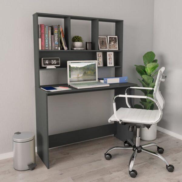 kirjutuslaud riiulitega betoonhall 110x45x157 cm puitlaastplaat