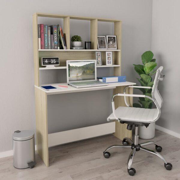 kirjutuslaud valge ja Sonoma tamm 110x45x157 cm puitlaastplaat