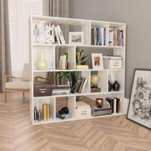 ruumijagaja/raamaturiiul valge 110 x 24 x 110 cm puitplastplaat