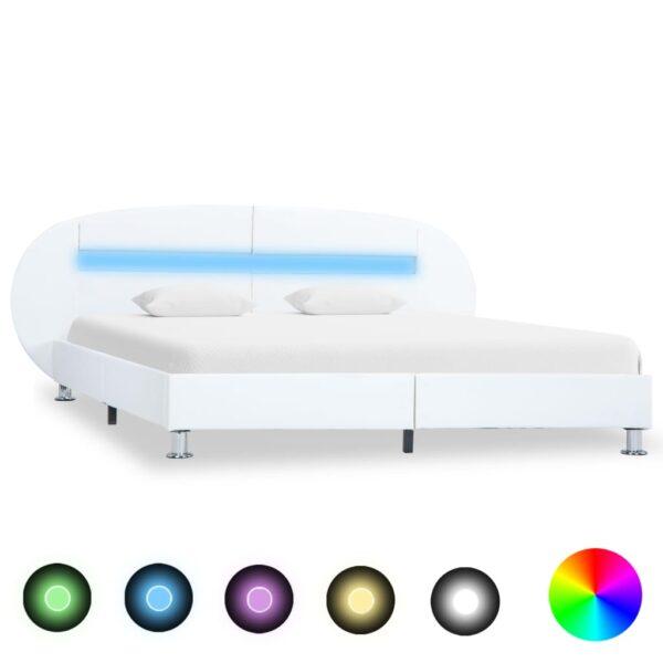 voodiraam LEDiga valge kunstnahast 120 x 200 cm