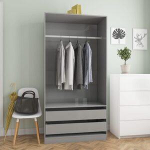garderoob kõrgläikega hall 100 x 50 x 200 cm puitlaastplaat