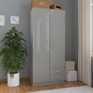 garderoob kõrgläikega hall 80 x 52 x 180 cm puitlaastplaat