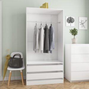 garderoob kõrgläikega valge 100 x 50 x 200 cm puitlaastplaat