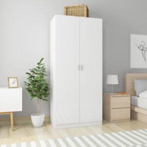 garderoob kõrgläikega valge 90 x 52 x 200 cm puitlaastplaat
