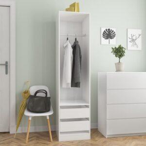 garderoob sahtlitega valge 50x50x200 cm puitlaastplaat