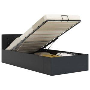 hüdrauliline hoiukastiga voodiraam must kunstnahk 90 x 200 cm