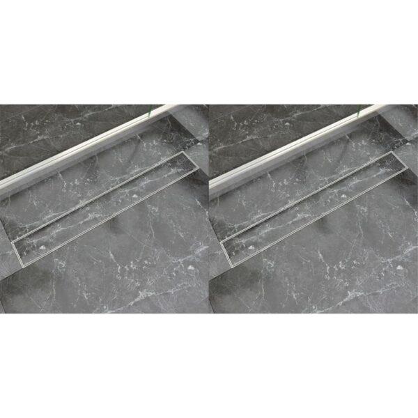 lineaarne duši äravoolusüsteem 2 tk 830x140 mm roostevaba teras