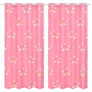 mustriga pimendavad lastekardinad 2 tk 140x240 vikerkaar roosa