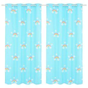 mustriga pimendavad lastekardinad 2 tk 140x240 vikerkaar sinine
