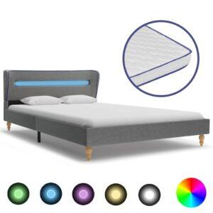 voodi LEDi ja mäluvahust madratsiga helehall kangas 140x200 cm