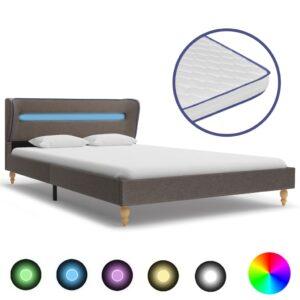 voodi LEDi ja mäluvahust madratsiga tumehall kangas 140x200 cm