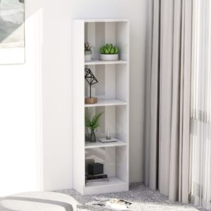 4-korruseline raamaturiiul valge 40x24x142 cm puitlaastplaat