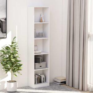 5-korruseline raamaturiiul valge 40x24x175 cm