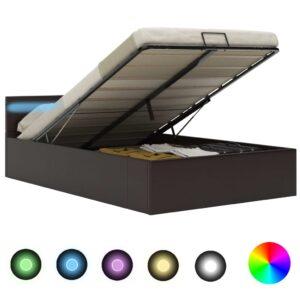 hüdrauliline hoiukastiga voodiraam LED hall kunstnahk 120x200
