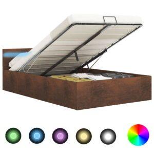 hüdrauliline hoiukastiga voodiraam LEDiga pruun kangas 160x200