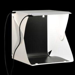 kokkupandav LED fotostuudio valguskast 23 x 25 x 25 cm valge
