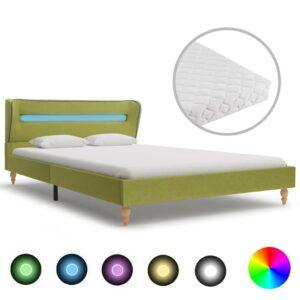 voodi LEDi ja madratsiga roheline kangas 140 x 200 cm