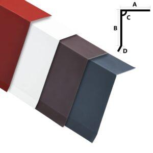 L-kujulised katuse servaplaadid 5 tk alumiinium punane 170 cm