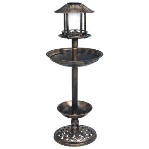 dekoratiivne linnubassein päikesetoitel LED-tuledega