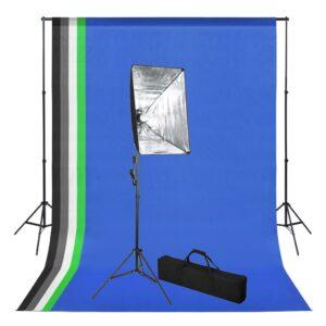 fotostuudiokomplekt taustapildi ja Softboxi valgustusega