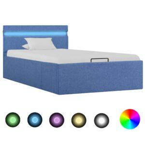 hüdrauliline hoiukastiga voodiraam LED sinine kangas 100x200 cm