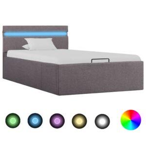 hoiukastiga voodiraam LEDiga pruunikas kangas 100 x 200 cm