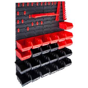29-osaline hoiukastide komplekt seinapaneelidega punane ja must