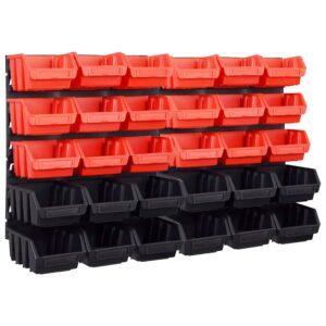 32-osaline hoiukastide komplekt seinapaneelidega punane ja must