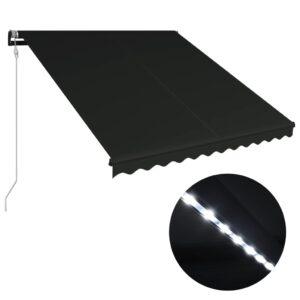 sissetõmmatav varikatus tuuleandur ja LED 350x250 cm antratsiit