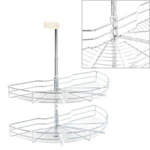 2 riiuliga köögi traatkorv hõbedane 180 kraadi 75 x 38 x 80 cm