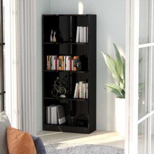 4-korruseline raamaturiiul must 60x24x142 cm puitlaastplaat