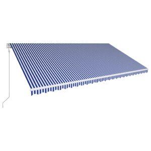 automaatselt sissetõmmatav varikatus 600x300 cm sinine ja valge