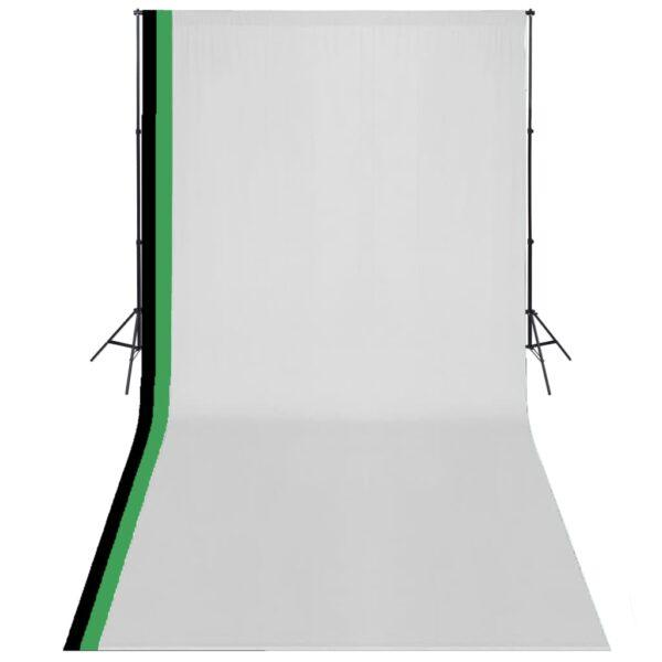 fotostuudio komplekt 3 tausta ja reguleeritava raamiga 3 x 6 m
