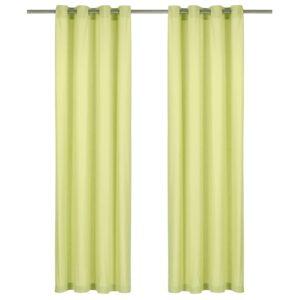kardinad metallrõngastega 2 tk puuvill 140 x 225 cm roheline