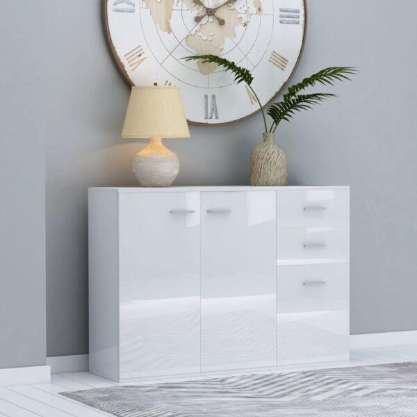 puhvetkapp kõrgläikega valge 105 x 30 x 75 cm
