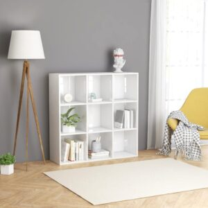 raamaturiiul kõrgläikega valge 98 x 30 x 98 cm puitlaastplaat