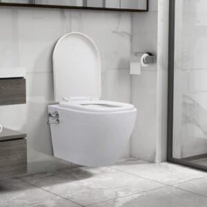 seinale kinnitatav ääreta bideefunktsiooniga tualettpott valge