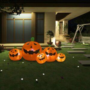 halloweenikaunistus täispumbatav kõrvitsaperekond LEDid