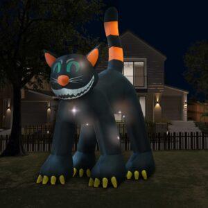 halloweenikaunistus täispumbatav must kass LEDiga XXL