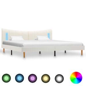 voodiraam LEDiga valge kunstnahast 160 x 200 cm