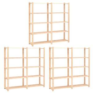 5-korruselised hoiuriiulid 3 tk 170x38x170 cm männipuit 500 kg