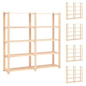 5-korruselised hoiuriiulid 5 tk 170x38x170 cm männipuit 500 kg