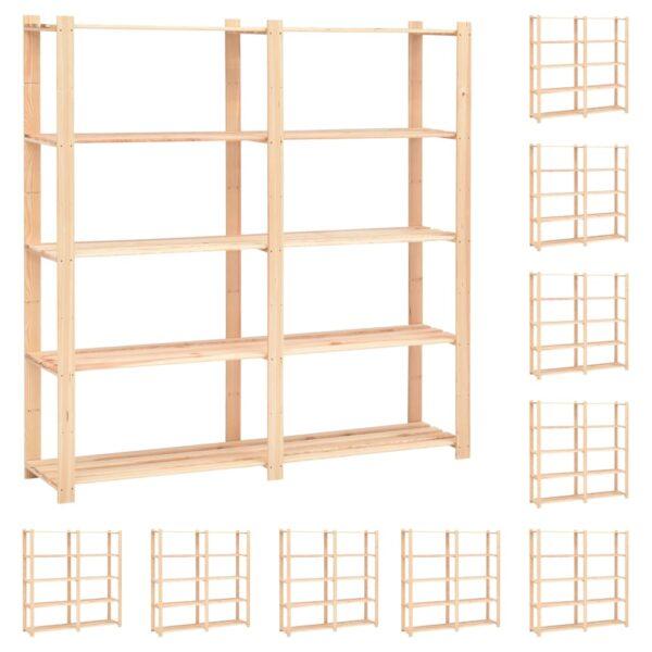 5korruselised hoiuriiulid 10 tk 170x38x170 cm männipuit 500 kg